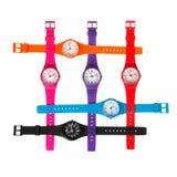 Insieme degli orologi di plastica Immagine Stock Libera da Diritti