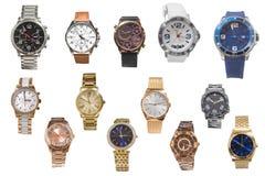 Insieme degli orologi isolati su fondo bianco Immagini Stock Libere da Diritti