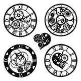 Insieme degli orologi nello stile vittoriano, disegnato a mano Illustrazione di vettore illustrazione di stock