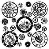 Insieme degli orologi nello stile vittoriano, disegnato a mano Vettore illustrazione vettoriale