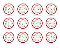 Insieme degli orologi rossi per gli orari di esercizio Metà dopo la versione di ore Immagini Stock Libere da Diritti