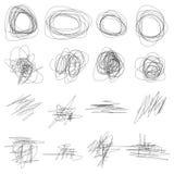 Insieme degli scarabocchi disegnati a mano di vettore astratto Fotografia Stock