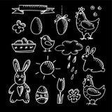 Insieme degli schizzi di scarabocchio del gesso di pasqua della molla, icone, Immagini Stock