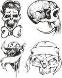 Insieme degli schizzi tribali del tatuaggio con i crani Fotografie Stock Libere da Diritti