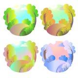Insieme degli sfondi naturali di vettore luminoso Quattro stagioni in natura - estate, inverno, caduta, molla Parco o vacanza del Fotografia Stock