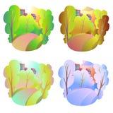 Insieme degli sfondi naturali di vettore luminoso Quattro stagioni in natura - estate, inverno, caduta, molla Parco o vacanza del Fotografie Stock