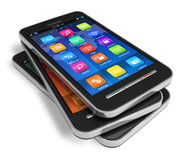 Insieme degli smartphones dello schermo attivabile al tatto royalty illustrazione gratis