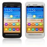 Insieme degli smartphones dello schermo attivabile al tatto Fotografia Stock Libera da Diritti