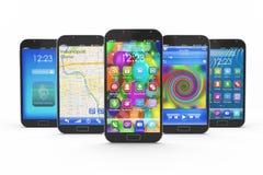 Insieme degli smartphones dello schermo attivabile al tatto Immagini Stock Libere da Diritti