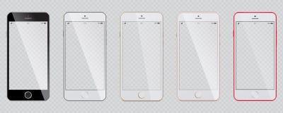 Insieme degli smartphones moderni con uno schermo trasparente royalty illustrazione gratis