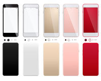 Insieme degli smartphones moderni su un fondo bianco con i lati anteriori e posteriori Immagini Stock