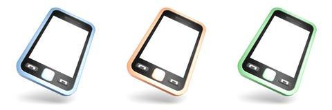 Insieme degli smartphones variopinti dello schermo attivabile al tatto su bianco Immagini Stock