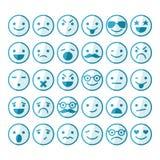 Insieme degli smiley nelle emozioni e negli atteggiamenti differenti royalty illustrazione gratis