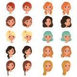 Insieme degli stili e dei colori di capelli differenti del ` s della ragazza: nero, blu, biondo, rosso, marrone Anni dell'adolesc illustrazione vettoriale