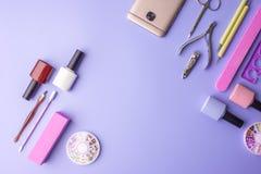 Insieme degli strumenti cosmetici per il manicure ed il pedicure su un fondo porpora Lucidi del gel, archivi di unghia e tagliato Fotografie Stock Libere da Diritti