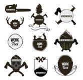 Insieme degli strumenti d'annata di carpenteria, icone, etichette, logo Fotografia Stock