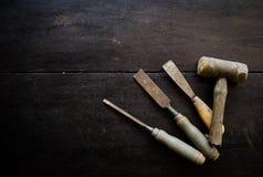 Insieme degli strumenti del carpentiere Fotografia Stock