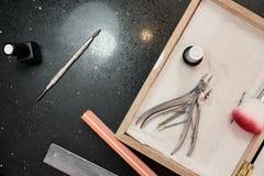 Insieme degli strumenti del manicure Fotografia Stock
