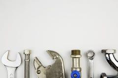 Insieme degli strumenti dell'idraulico Immagine Stock Libera da Diritti