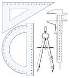 Insieme degli strumenti della geometria Immagini Stock Libere da Diritti