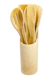 Insieme degli strumenti di bambù della cucina Fotografie Stock Libere da Diritti