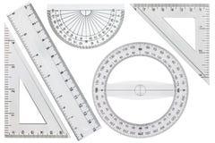 Insieme degli strumenti di disegno, righello, triangolo del goniometro, isolato su wh Fotografia Stock Libera da Diritti
