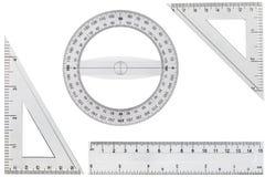 Insieme degli strumenti di disegno, righello, triangolo del goniometro, isolato su wh Immagine Stock Libera da Diritti