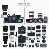 Insieme degli strumenti di fotografia Fotografia Stock