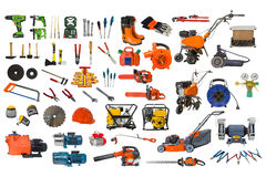 Insieme degli strumenti di giardino e della costruzione isolati su fondo bianco Fotografia Stock Libera da Diritti