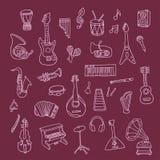 Insieme degli strumenti di musica Immagini Stock Libere da Diritti