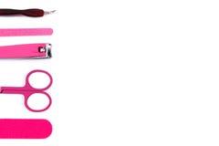 Insieme degli strumenti di pedicure o del manicure, concetto di cura dell'unghia, spazio della copia per testo Immagini Stock