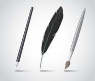 Insieme degli strumenti di scrittura. Fotografia Stock