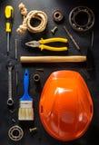 Insieme degli strumenti e degli strumenti Immagini Stock Libere da Diritti