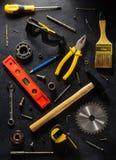 Insieme degli strumenti e degli strumenti Immagine Stock Libera da Diritti