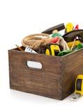 Insieme degli strumenti e degli strumenti in cassetta portautensili Fotografie Stock