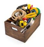 Insieme degli strumenti e degli strumenti in cassetta portautensili Immagine Stock