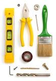Insieme degli strumenti e degli strumenti su bianco Fotografia Stock Libera da Diritti