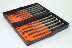 Insieme degli strumenti e del cacciavite per il lavoro di precisione Fotografia Stock