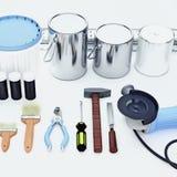 Insieme degli strumenti e delle pitture per la fabbricazione della riparazione situata su backg bianco Immagine Stock