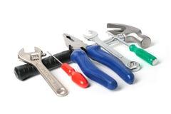 Insieme degli strumenti isolati sopra bianco. immagine stock libera da diritti