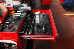 Insieme degli strumenti meccanici per il garage Fotografia Stock Libera da Diritti
