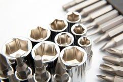 Insieme degli strumenti metallici come priorità bassa Immagini Stock Libere da Diritti