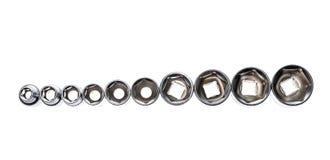 Insieme degli strumenti metallici della chiave a bussola isolati su fondo bianco Fotografie Stock Libere da Diritti