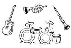 Insieme degli strumenti musicali Immagine Stock Libera da Diritti