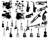 Insieme degli strumenti musicali Fotografie Stock Libere da Diritti