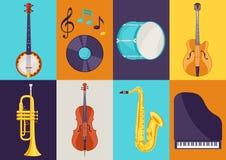 Insieme degli strumenti musicali Jazz, blu e musica classica royalty illustrazione gratis