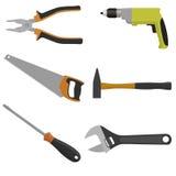 Insieme degli strumenti per costruzione e la riparazione Fotografia Stock