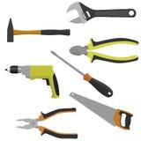 Insieme degli strumenti per costruzione e la riparazione Fotografia Stock Libera da Diritti
