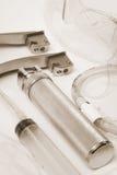 Insieme degli strumenti per i tracheas di intubazione Fotografie Stock