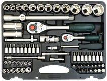 Insieme degli strumenti in scatola isolata su bianco immagine stock